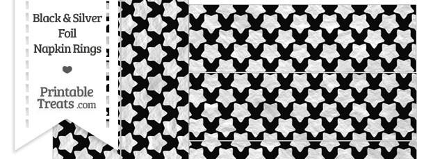 Black and Silver Foil Stars Napkin Rings