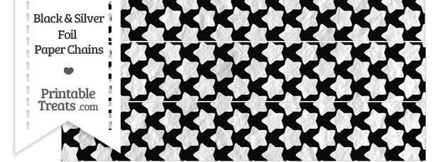 Black and Silver Foil Stars Paper Chains