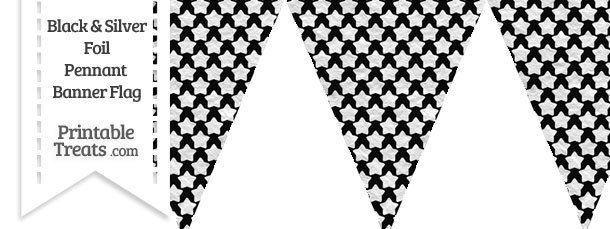 Black and Silver Foil Stars Pennant Banner Flag