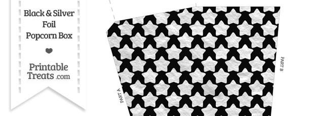 Black and Silver Foil Stars Popcorn Box