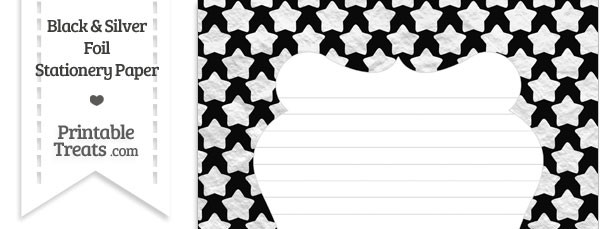 Black and Silver Foil Stars Stationery Paper