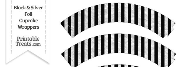 Black and Silver Foil Stripes Cupcake Wrappers