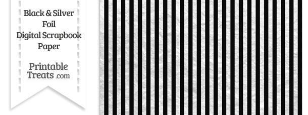 Black and Silver Foil Stripes Digital Scrapbook Paper