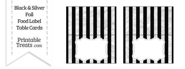 Black and Silver Foil Stripes Food Labels