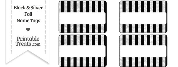 Black and Silver Foil Stripes Name Tags