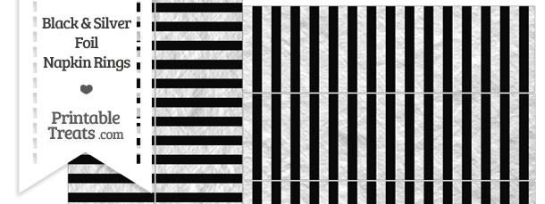 Black and Silver Foil Stripes Napkin Rings