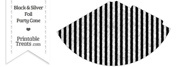 Black and Silver Foil Stripes Party Cone