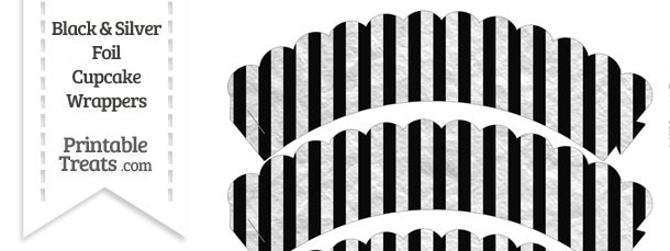 Black and Silver Foil Stripes Scalloped Cupcake Wrappers
