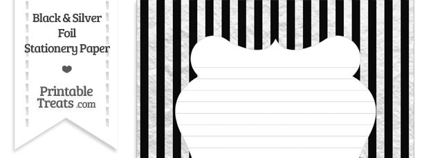 Black and Silver Foil Stripes Stationery Paper
