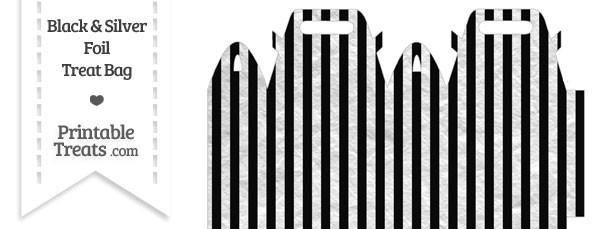 Black and Silver Foil Stripes Treat Bag