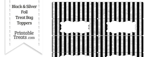 Black and Silver Foil Stripes Treat Bag Toppers