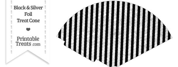 Black and Silver Foil Stripes Treat Cone