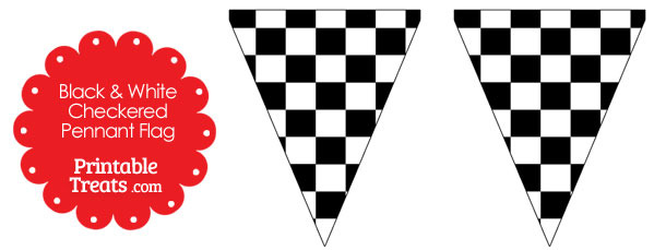 Black and White Checkered Pennant Banner Flag