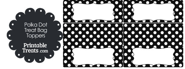 Black and White Polka Dot Treat Bag Toppers