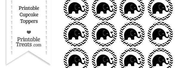 Black Baby Elephant Chevron Cupcake Toppers
