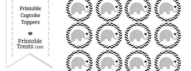 Black Chevron Baby Elephant Cupcake Toppers