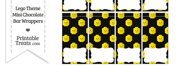 Black Lego Theme Mini Chocolate Bar Wrappers