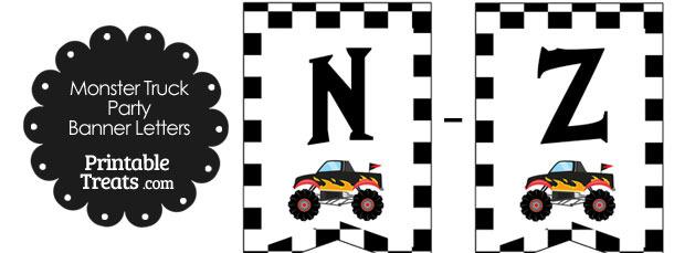 Black Monster Truck Banner Letters N-