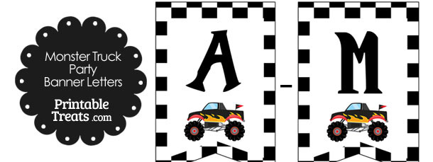 Black Monster Truck Birthday Bunting Banner Letters A-M