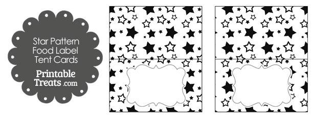 Black Star Pattern Food Labels