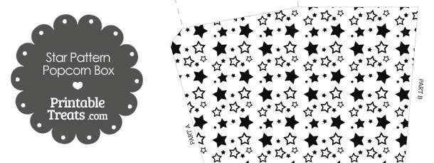 Black Star Pattern Popcorn Box