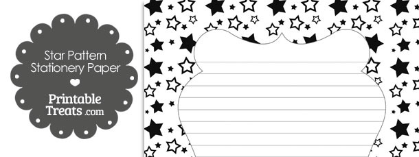 Black Star Pattern Stationery Paper