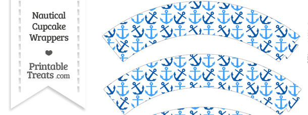 Blue Anchors Cupcake Wrappers