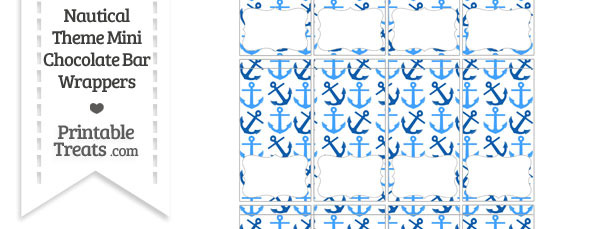 Blue Anchors Mini Chocolate Bar Wrappers
