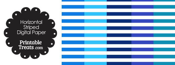 Blue and White Horizontal Striped Digital Scrapbook Paper