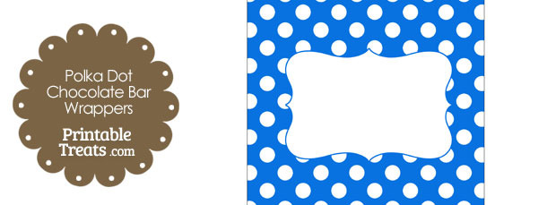 Blue and White Polka Dot Chocolate Bar Wrappers