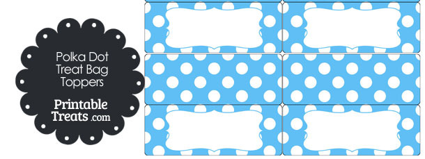 Blue and White Polka Dot Treat Bag Toppers