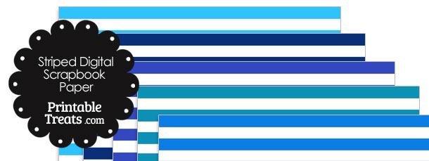 Blue and White Striped Digital Scrapbook Paper