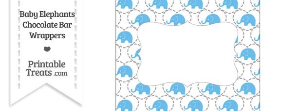 Blue Baby Elephants Chocolate Bar Wrappers