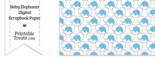 Blue Baby Elephants Digital Scrapbook Paper
