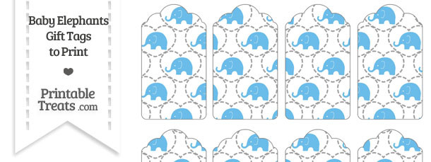 Blue Baby Elephants Gift Tags