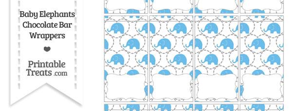Blue Baby Elephants Mini Chocolate Bar Wrappers