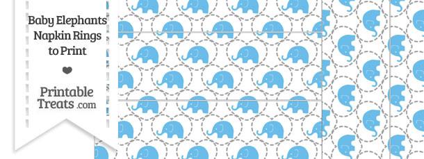 Blue Baby Elephants Napkin Rings