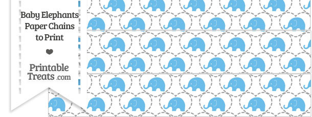 Blue Baby Elephants Paper Chains