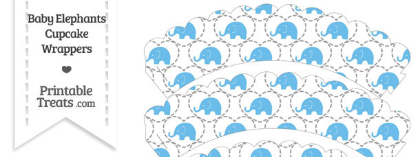 Blue Baby Elephants Scalloped Cupcake Wrappers