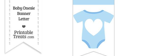 Blue Baby Onesie Bunting Banner Heart End