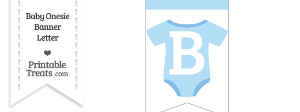 Blue Baby Onesie Bunting Banner Letter B