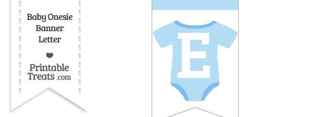 Blue Baby Onesie Bunting Banner Letter E