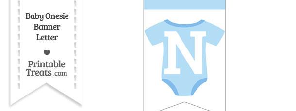 Blue Baby Onesie Bunting Banner Letter N