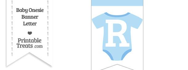 Blue Baby Onesie Bunting Banner Letter R