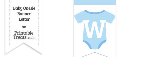 Blue Baby Onesie Bunting Banner Letter W