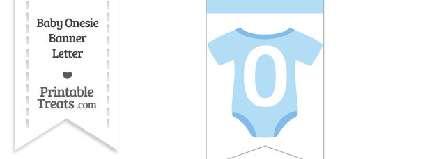 Blue Baby Onesie Bunting Banner Number 0