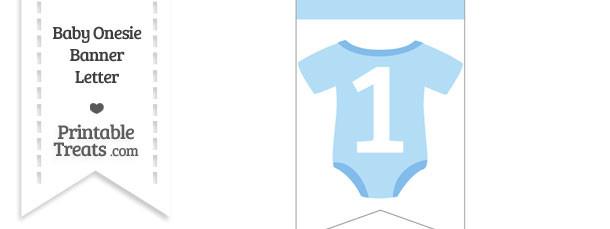 Blue Baby Onesie Bunting Banner Number 1