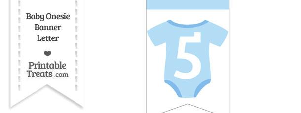 Blue Baby Onesie Bunting Banner Number 5