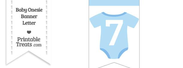 Blue Baby Onesie Bunting Banner Number 7