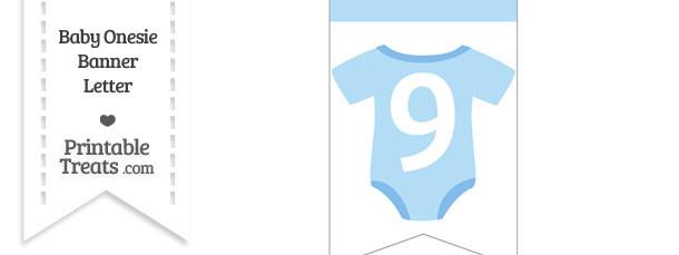 Blue Baby Onesie Bunting Banner Number 9